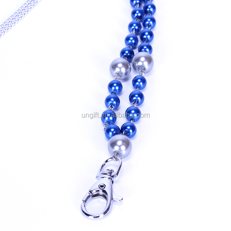 New style promotional gift bead pearl necklace lanyard custom length accessories for women