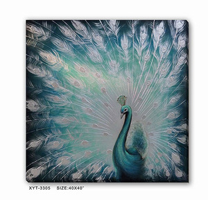 Contemporary Abstract Peacock Oil Wall Art Canvas Painting