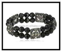 2015 wholesale sphere black crystal charm stretch bracelet for woven