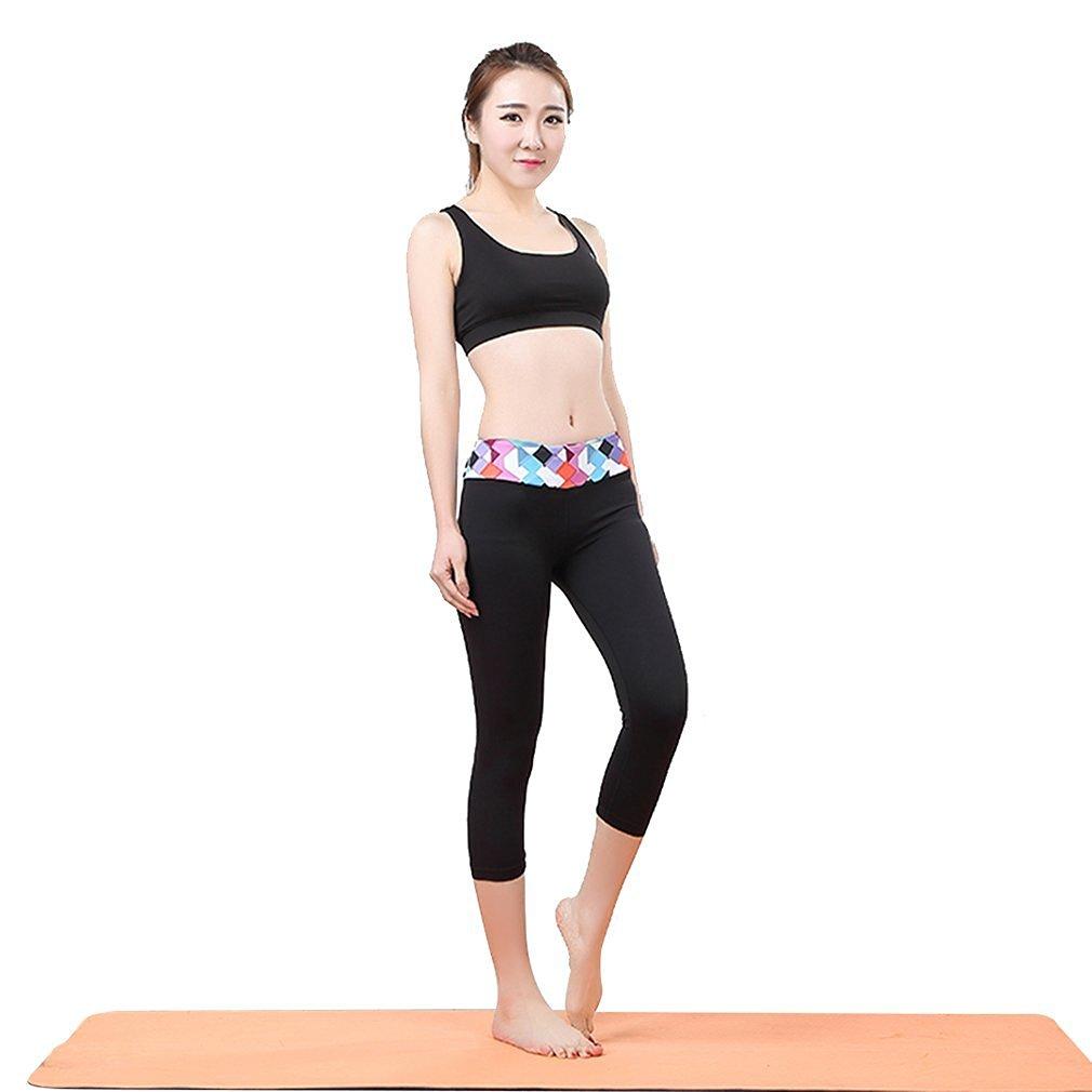 ab7671cd575d Get Quotations · Fullwell Women s Yoga Gym Floral Waist Floral Sport Capri  Pants Black M