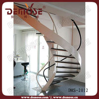 cheap wholesale curved stainless steel wood staircase/stair