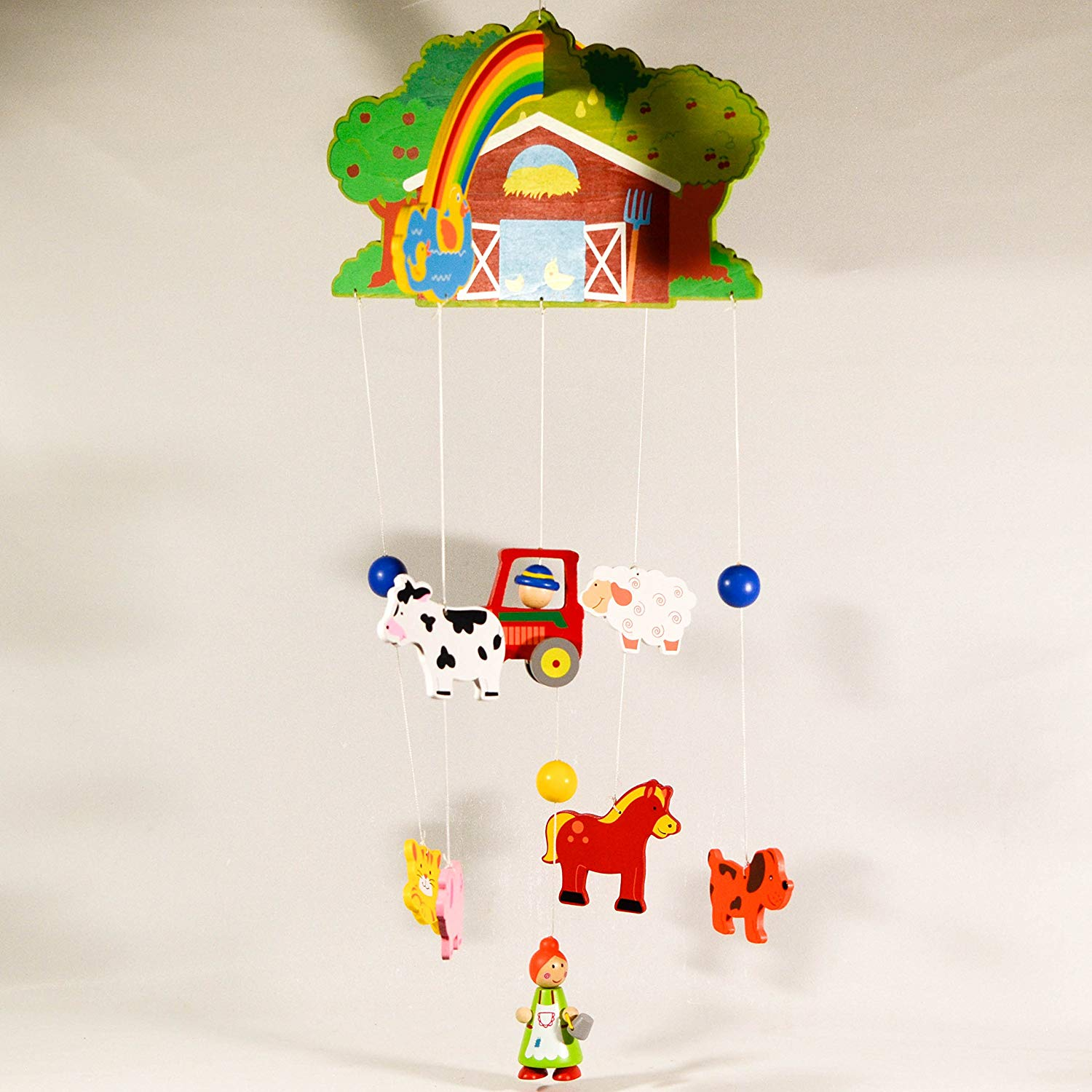 Wooden Hanging Mobile Farm - Nursery Decor - Baby Mobile Ornament - Baby Room Decor - Novelty Dinosaurs Decoration