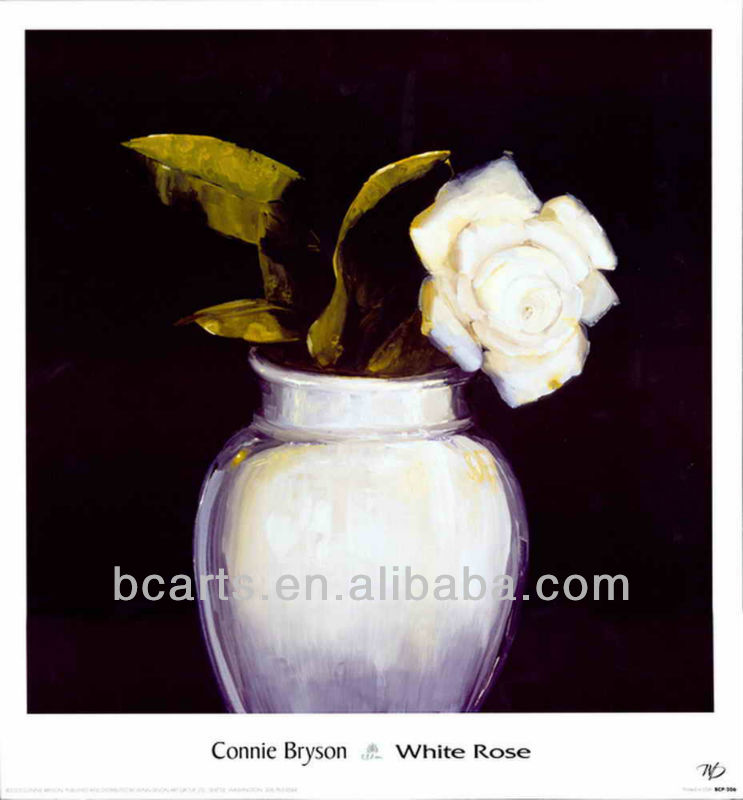 BC13-5194 High quality pure hand-painted oil paintings home decoration white roses in a vase painting