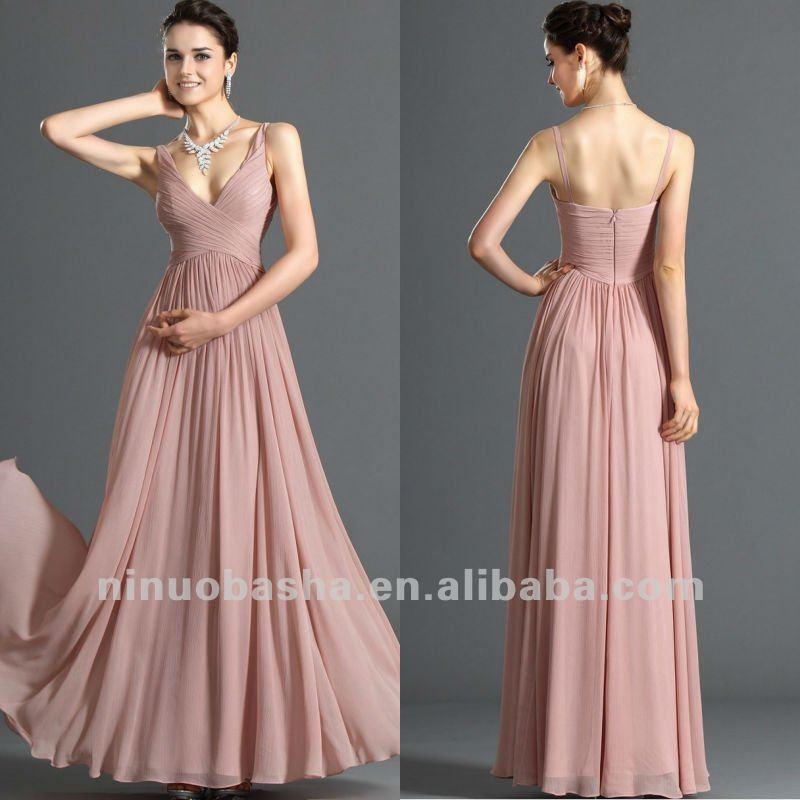 Courtlike Sheath Pleated Zipper Closure Deep V Neck Bridesmaid Dress ...