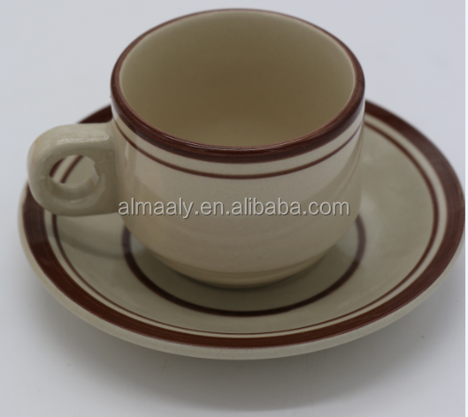 220cc hand painted lines stoneware tea cup and saucer drinkware