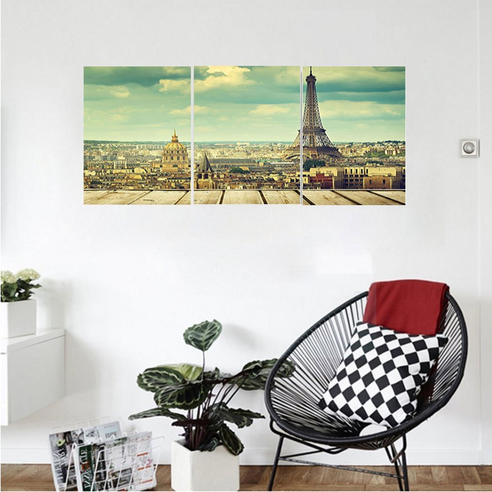 Liguo88 Custom canvas Eiffel Tower Decor Collection Paris Cityscape with Eiffel Tower View from A Wooden Deck Table Urban Life Classic Home Bedroom Living Room Wall Hanging Teal