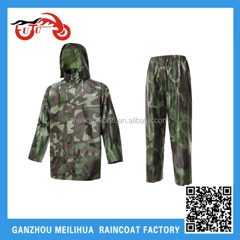 ARONXU polyester camouflage military rain jacket with pants