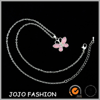 Alibaba express in spanish supply high quality simple designs fancy acrylic butterfly necklace for girls