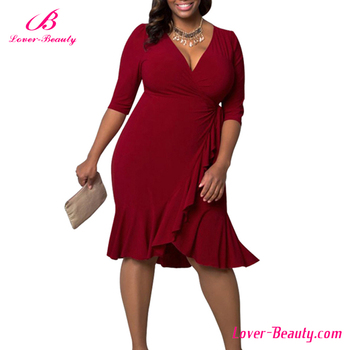 Fasy Delivery Casual Wear Red Plus Size Chinese Dresses For Fat