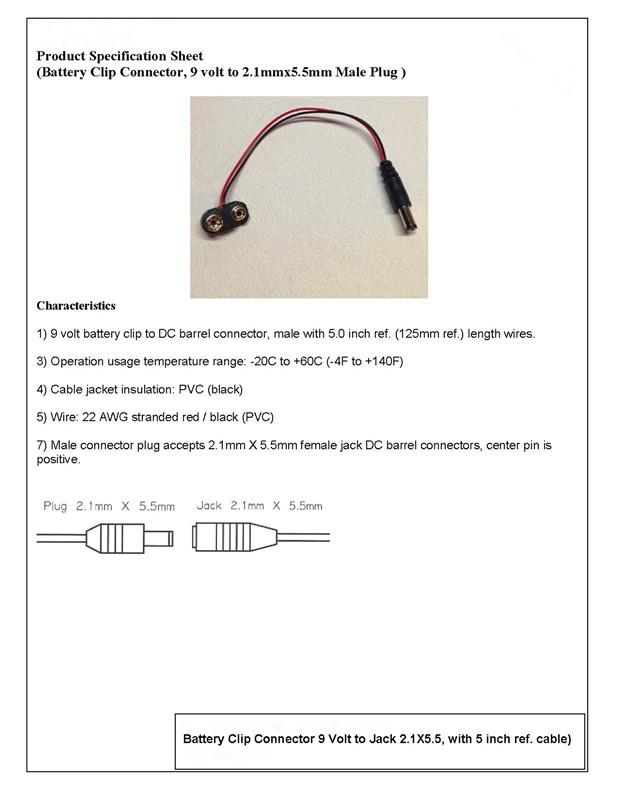LED Beleuchtung weiß 9 Volt mit Kabel und Stecker für 9 Vo