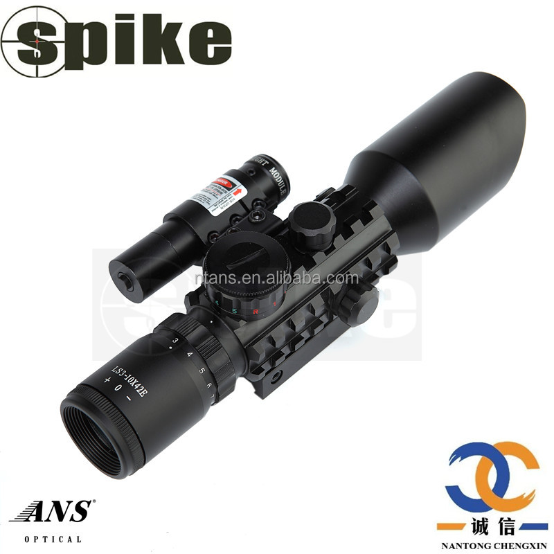 Spike Optic Scope 3-10x42 Dual Illuminated Hunting Rifle Scope with Red Dot Laser Sight Used for Airgun, Rifle Scope