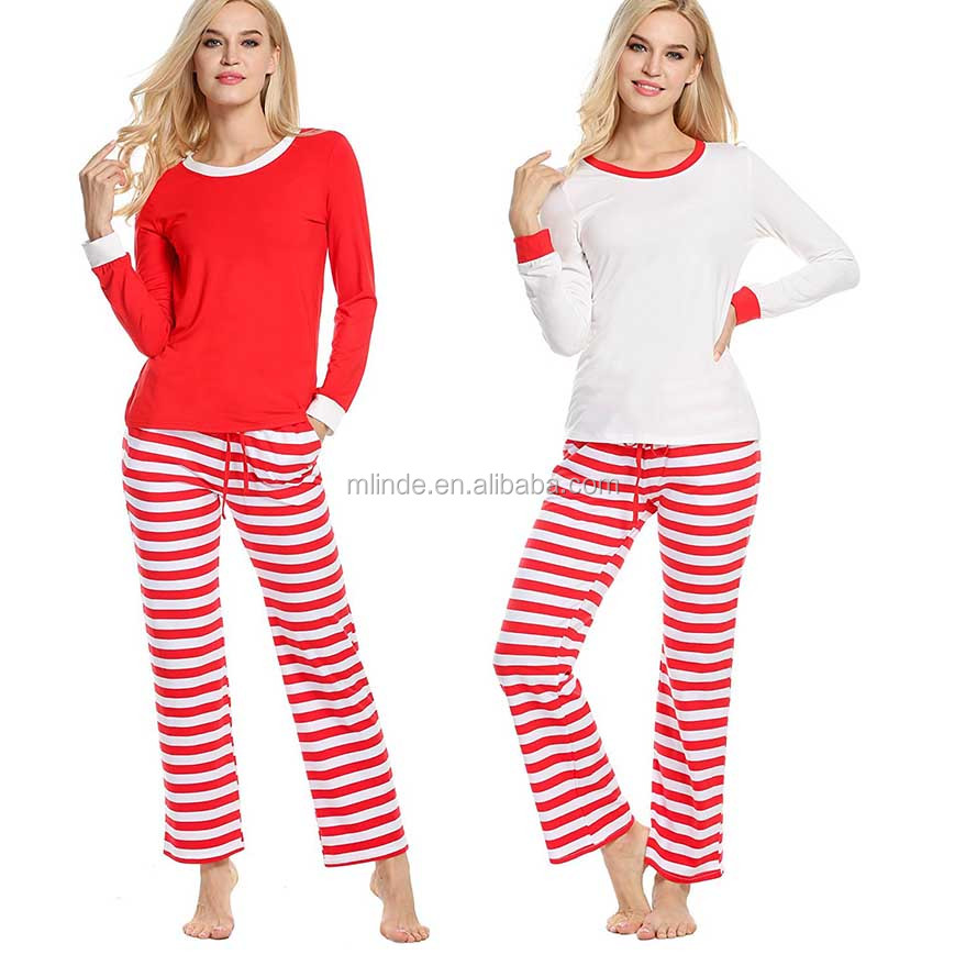 e3fe295a3344 Unisex Adult Christmas Matching Family Pajamas Sets Stripes Homewear Outfit