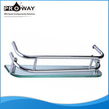 Stainless steel hole distance 296mm Glass With Aluminum Shower Room Shelf Corner Shelves for Bathroom