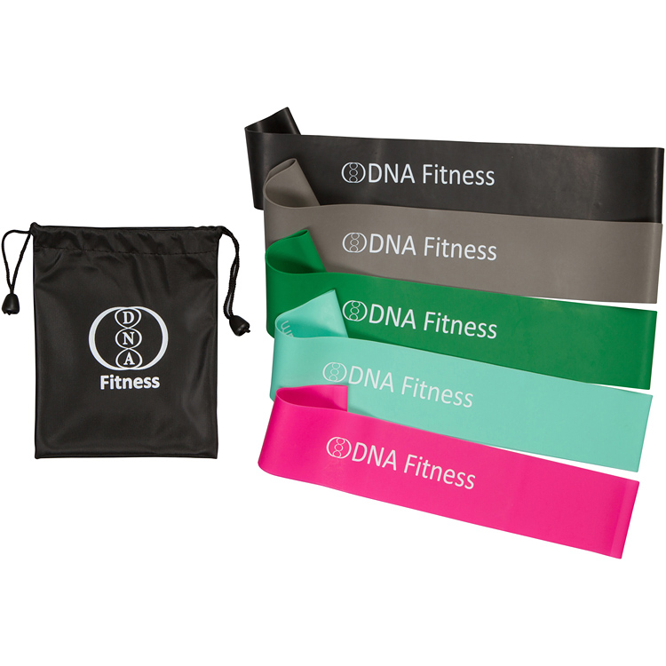 Set of 5 Premium-Quality <strong>Resistance</strong> Bands with Bag - Tone Legs and Glutes at Home or at The Gym