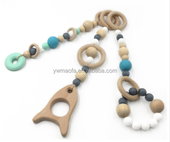 Wholesales Baby Wooden Play Gym Teethers Toy Bpa Free Silicone Beads