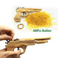 Unlimited bullet Classical Rubber Band Launcher Wooden Hand Pistol Gun Shooting Toy Guns Gifts Boys Outdoor