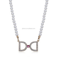 2017 fashion crystal bowknot letter D pendant pearl beaded necklace jewelry