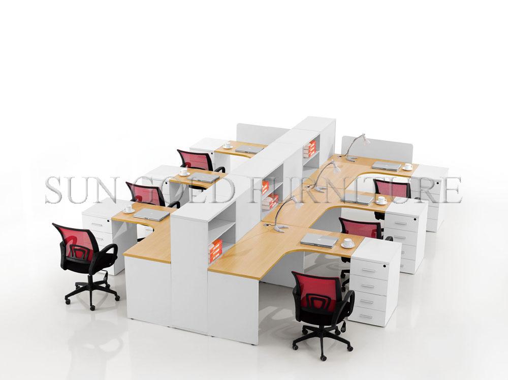 Aangepaste moderne open stijl houten office 3 persoon workstation sz ws388 buy product on - Verwijderbare partitie ...
