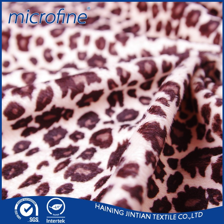 100% polyester hot sell leopard print faux fur fabric
