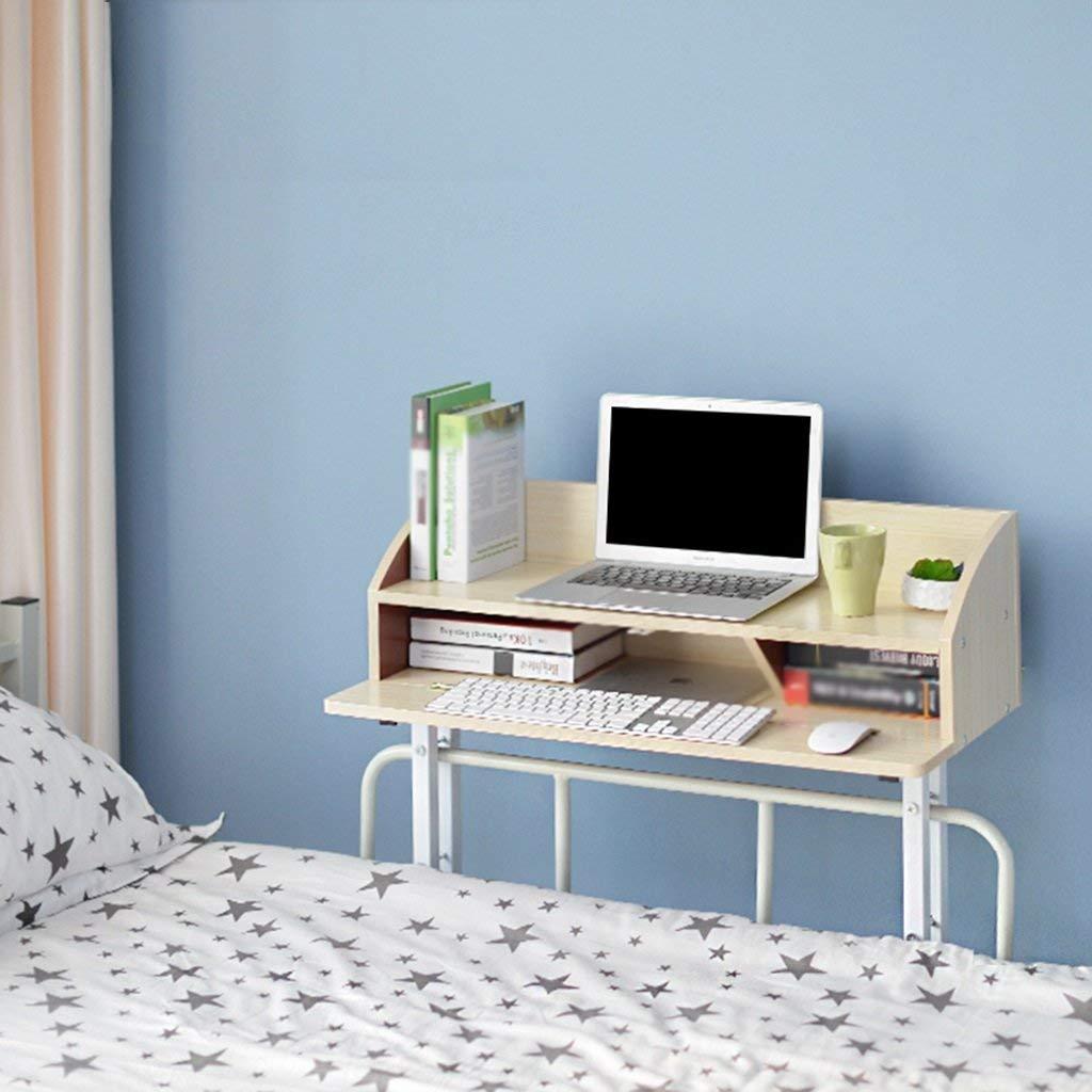 LQQGXL Storage and organization Creative dorm computer bed table lazy bedroom desk wooden shelves (Color : Beige)