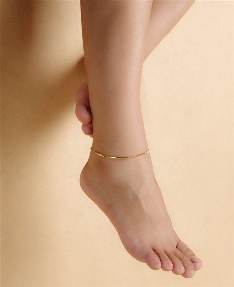 under best women bracelet foot anklet summer product sandals barefoot men real platinum gold simple jewelry plated link for cuban chain