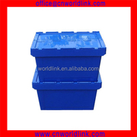 600x400x340mm Storage 50kgs Hinged Lids Cheap Plastic Container