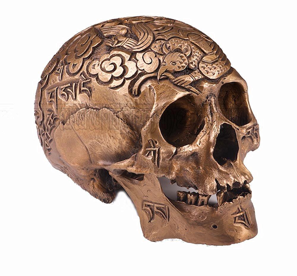 Handmade Fine Bronze Casting 1:1 Kapala Carved Human Skull Tibetan Buddhism Monster Tai Chi Cloud OD93