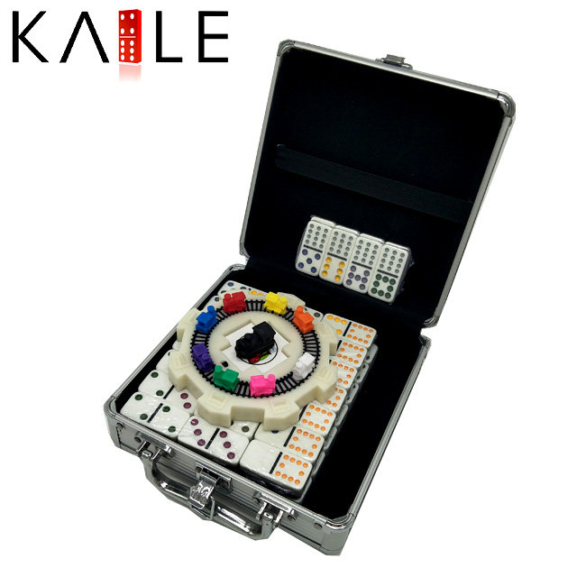 91 Domino Color Dot Train Mexican Domino Game Set in an Aluminum Case