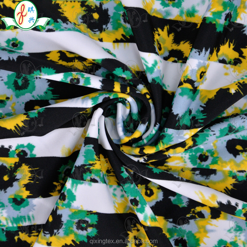 Knitted Floral Print Polyester Spandex Underwear / Lingerie Fabric