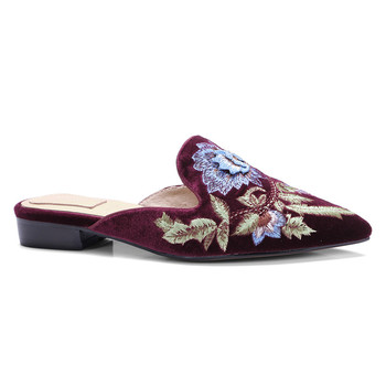 a000f704dc9 Vintage Style Women Mules Pointed Toe Flora embroidered Mule for women  Velvet Flat Shoes Ladies mules