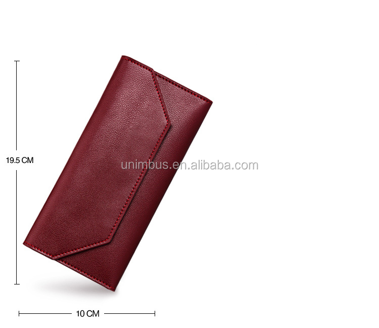 Dark green Genuine leather bluetooth anti-theft alarm smart phone wallet for women