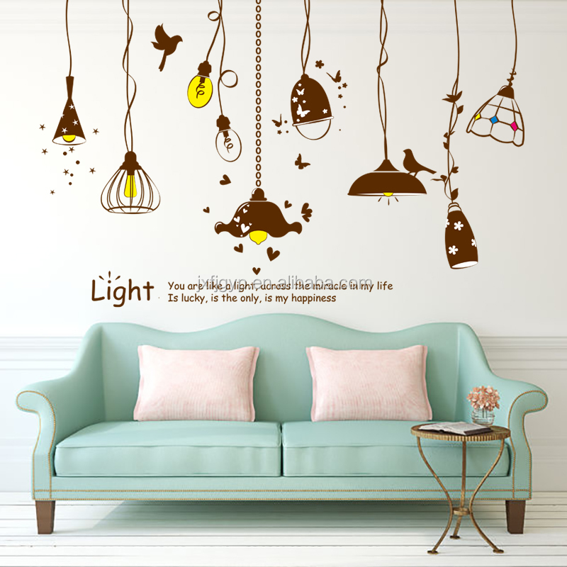Hot sales creative removable bedroom art chandelier wall stickers for decoration