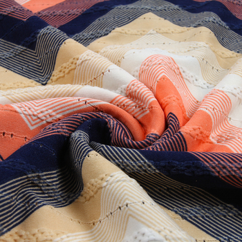 Most popular geometric stripe textile knitting 3d jacquard fabric printing for garments