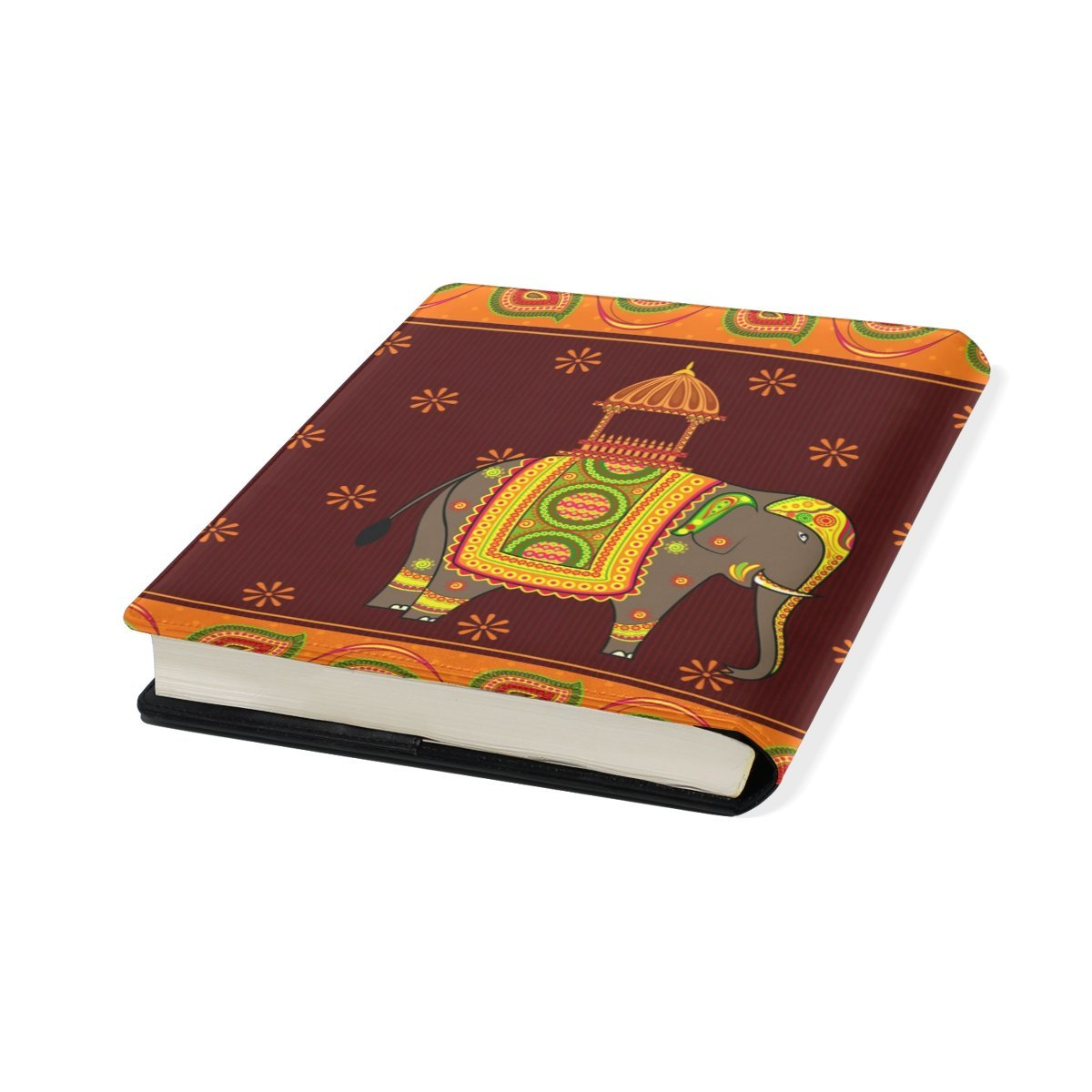 Sunlome Decorated Indian Elephant Pattern Stretchable PU Leather Book Cover 9 x 11 Inches Fits for School Hardcover Textbooks
