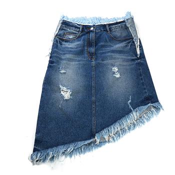 nueva estilos 9fb2d a28ff 2019 Venta Caliente Ropa Casual Encaje Asimétrico Corto Denim Jeans Falda -  Buy Falda Corta De Mezclilla,Denim Jeans Tela Faldas,Chicas Con Faldas ...