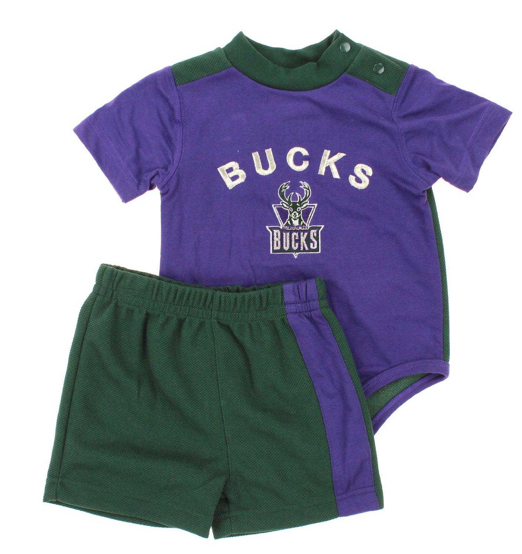 Get Quotations · Milwaukee Bucks NBA Baby Boys Infant Retro Creeper and  Shorts Set d722761b8