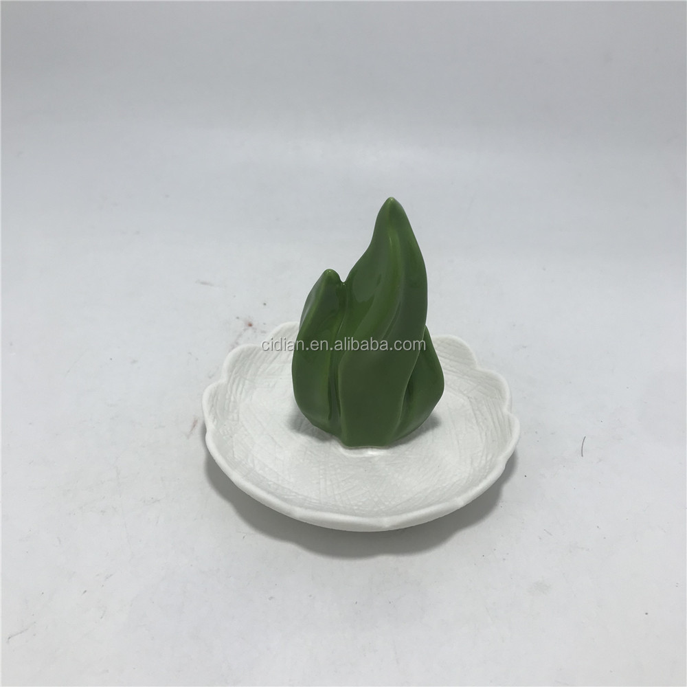 Green cactus decoration ceramic jewelry display dish necklace tray