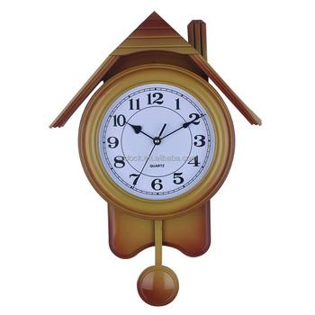 Fashion Decoration House Shape Wall Clock Plastic Large Pendulum China