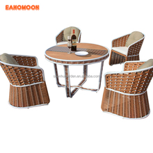 2018 Outdoor PE Rattan Aluminum UV Plastic Wood 4 Person Dining Table and Chairs Garden Set