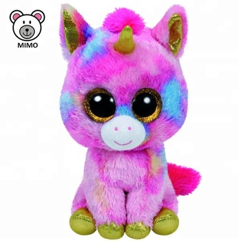 Colorful Rose Pink Horse Unicorn Stuffed Animal Toy With Horn Brand