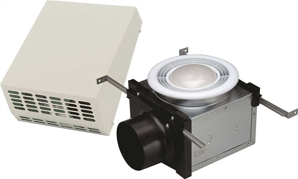 """Fantech PBW110F 110 CFM Wall-Mount Exterior Exhaust Fan Kit with Fluorescent Light for 4"""" Duct"""