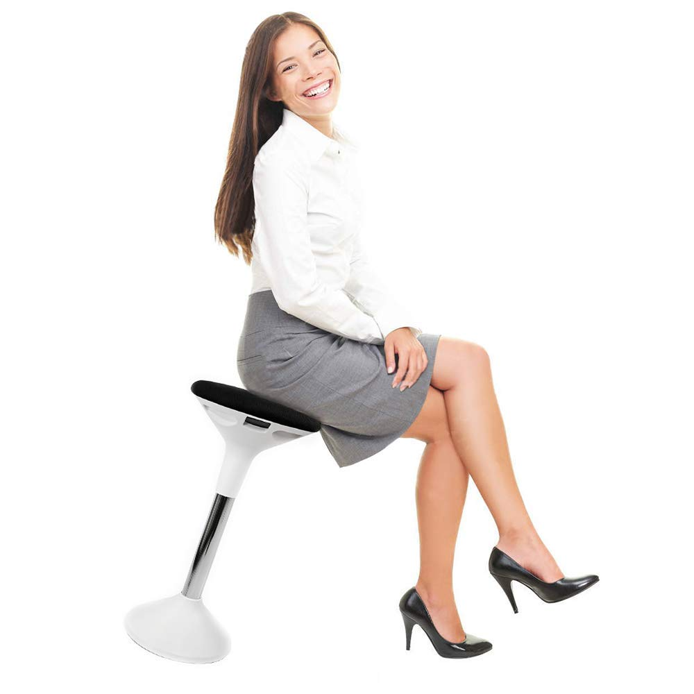 AdvnUp Active Sitting Chair, Height Adjustable Motion Swivel Wooble Stool for Standing Desk, Black & White, Ergonomic Office Chair for Comfort & Back Pain Relief