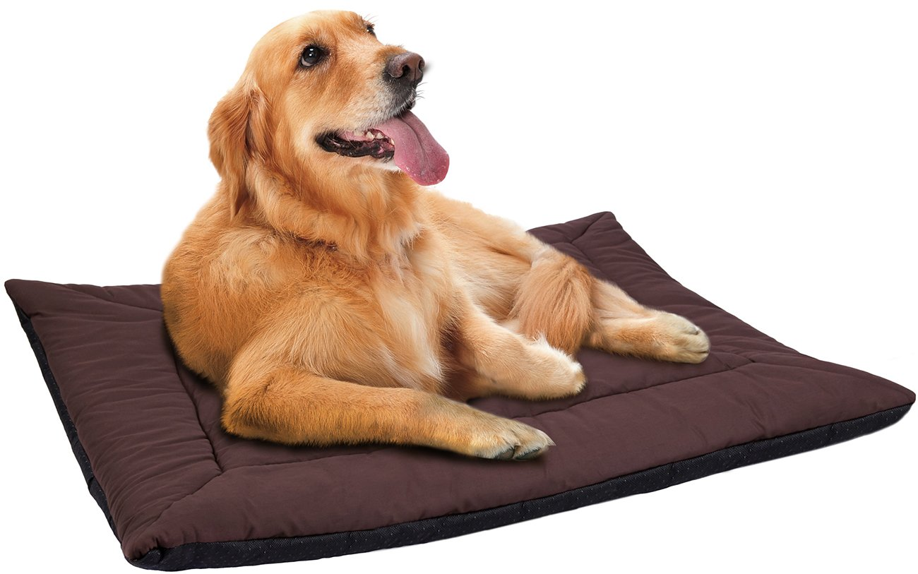 "Paws & Pals 35"" x 26"" x 0.5"" Inches Self Warming Pet Bed Cushion Pad Dog Cat Cage Kennel Crate Soft Cozy Mat - Brown"