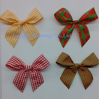 Christmas curly tartan ribbon bow