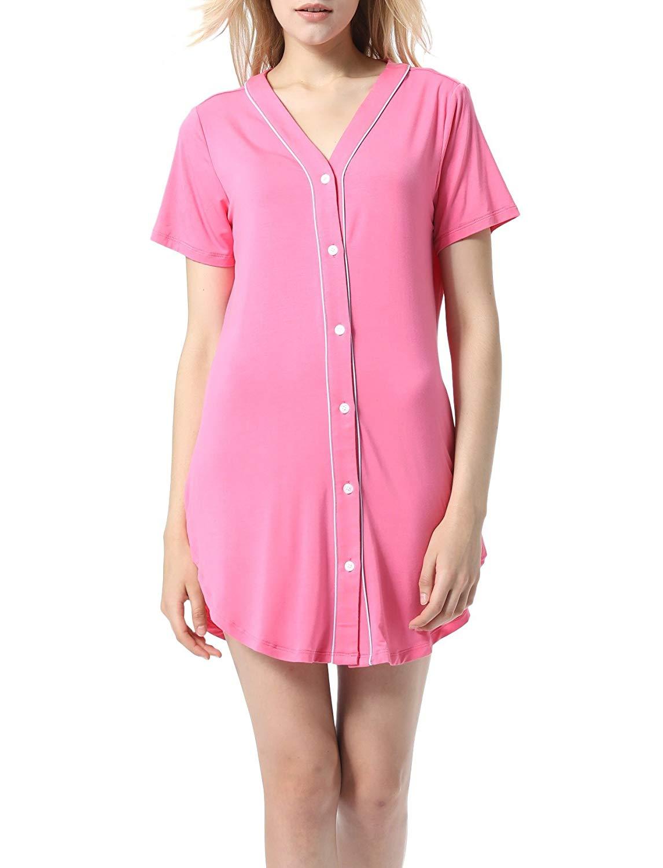 Get Quotations · Seazoon Women Nightgowns Short Sleeve Boyfriend Nightshirt  Button Down Summer Sleepwear S-XL 2faaffeed
