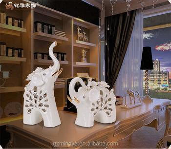 fengshui home decoration ceramic white indian elephant custom