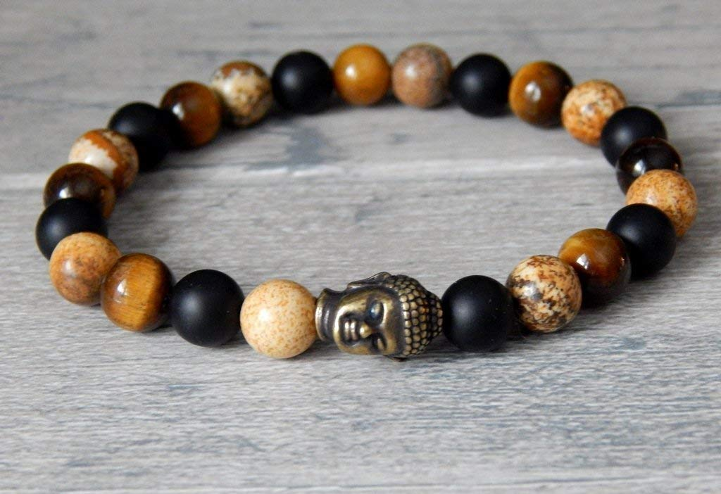Mens Mulit-Gemstone Buddha Bracelet Tiger Eye Matte Black Onyx Picture Jasper Yoga Meditation Mala