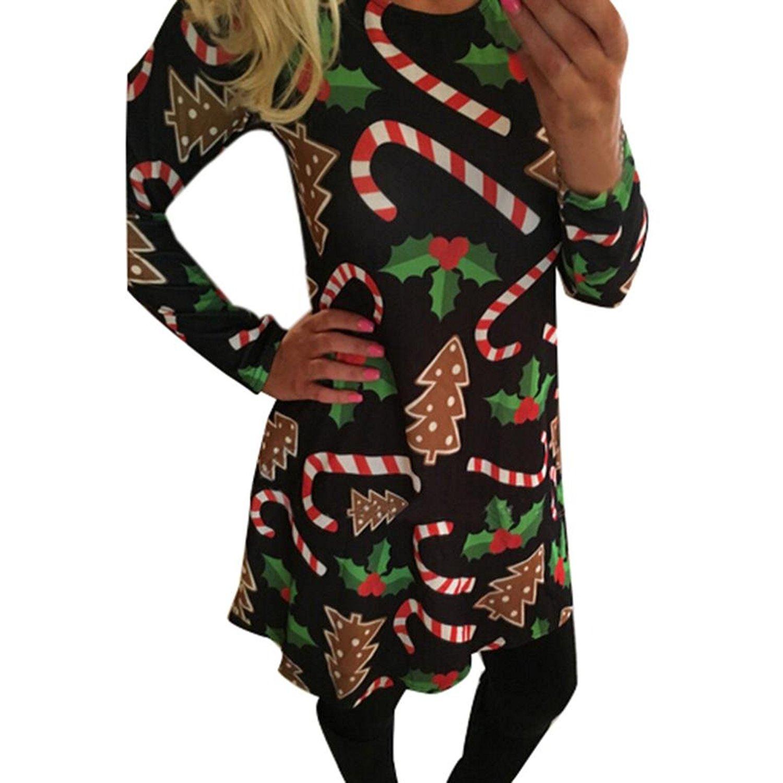 Ruiyige Christmas Women Longsleeve Xmas Santa Claus Gifts Flared Cosplay Party Printed Maxi Dress Hoho Xmas