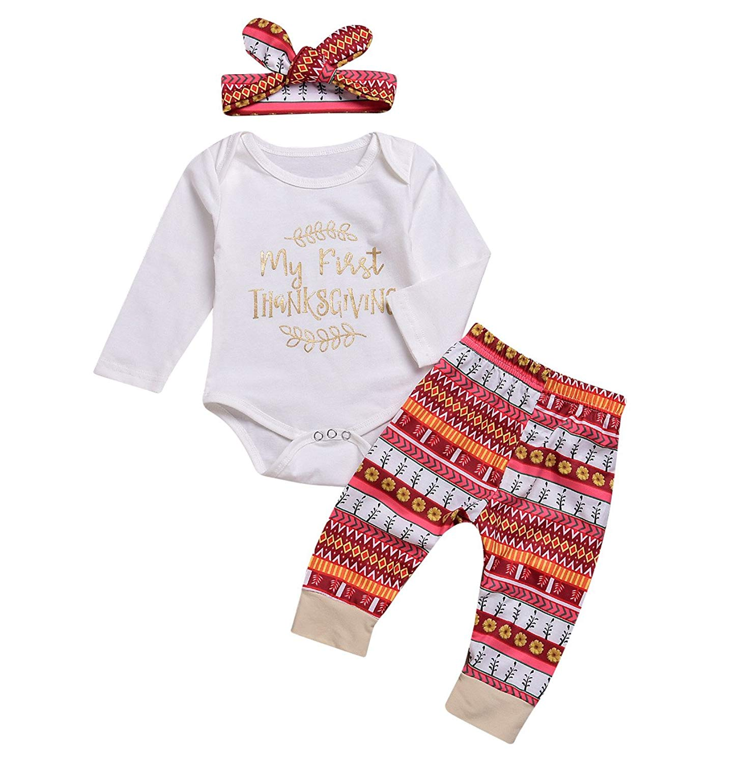 4707bae1e Get Quotations · Younger Tree Thanksgiving Outfit Newborn Infant Baby Boy  Girl Letter Print Long Sleeve Romper Pant Headband
