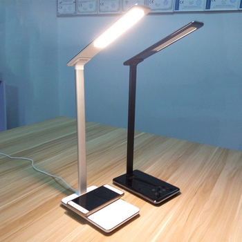Portable Folding Dimmable Touch 5W LED Desk Lamp, Qi Wireless Charger Smart  Phone Table Lamps